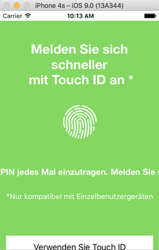 sign in screen in german for mobile apps