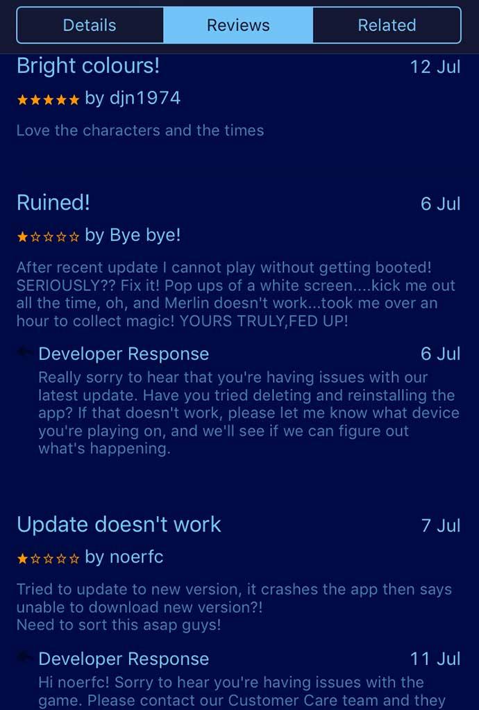 disney magic kingdom app responding to review
