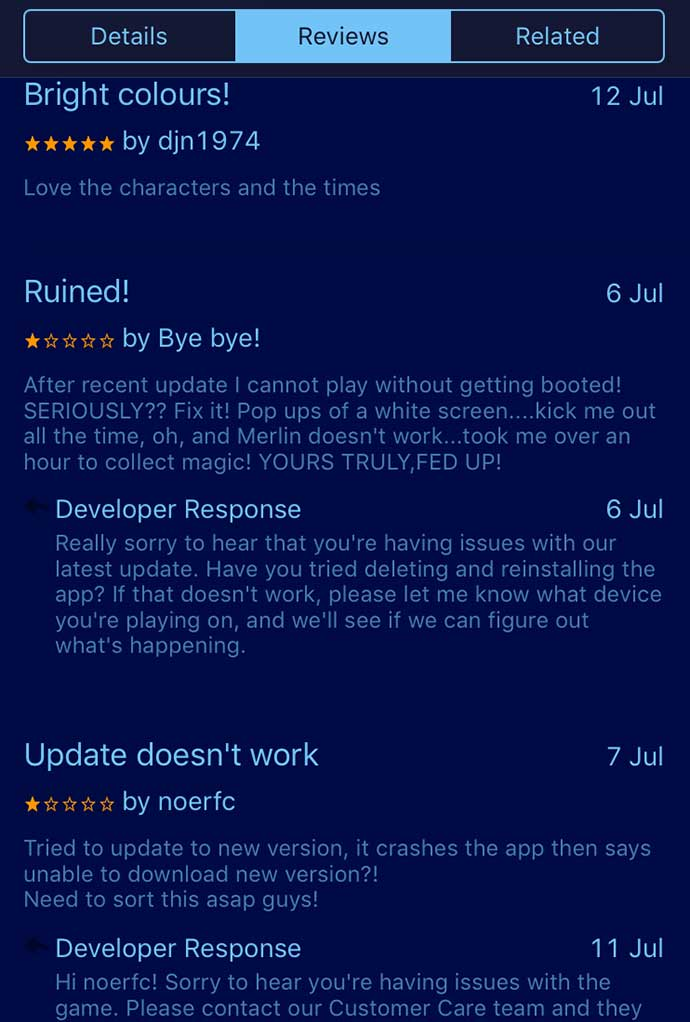 disney magic kingdom app responding to review
