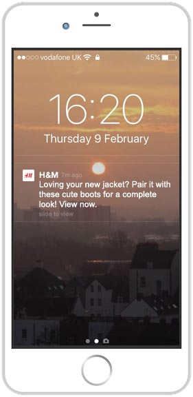 iphone with personalised push notification