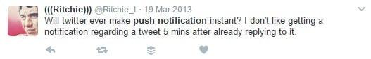 screenshot tweet of complaint