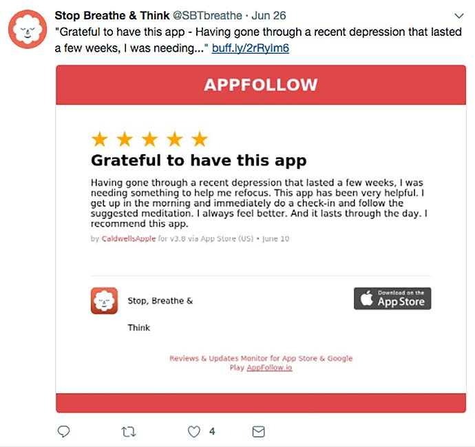 stop breathe think app social media screenshots