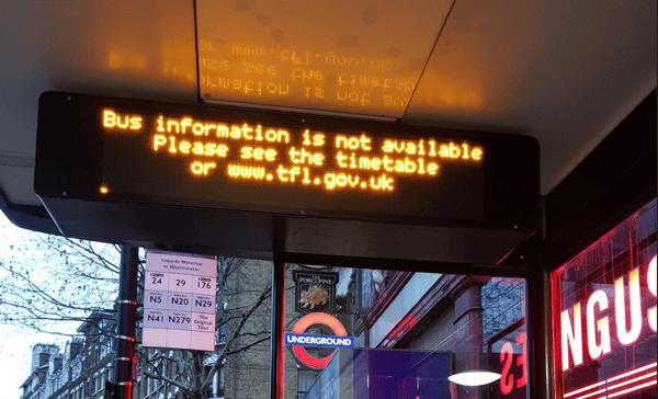 TFL bus timetable erring gracefully